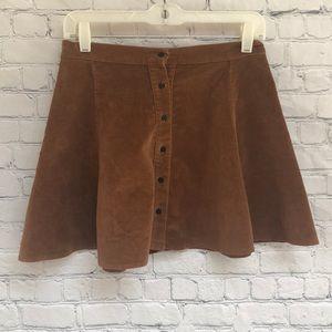 Brandy Melville Brown Stretch Skater Skirt